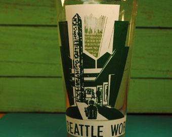 1962 Seattle ART WORLDS FAIR drinking glass artist blues graphics design souvenir glass collectible cool glass home decor vintage retro