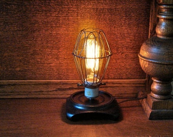 Lamp - Edison Bulb Cage Lamp - Industrial Vintage Light Fixture - Large Bulb With Marconi Filament - Accent Table Lamp