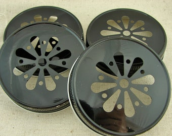 Black Daisy Cut Mason Jar Lids - 6 Lids Only....DLP-6