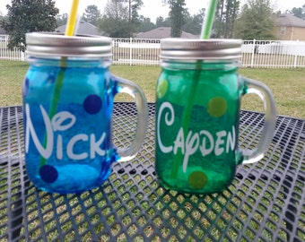 16 oz  Personalized Disney Font MASON JAR Sippy Tumbler - Glass with Handle - Choose your Color -  Birthday Parties - Personalized Gifts
