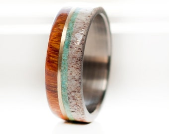 Mens Titanium Wedding Band with Wood, Antler, Turquoise & 10K Gold Inlays - Staghead Designs
