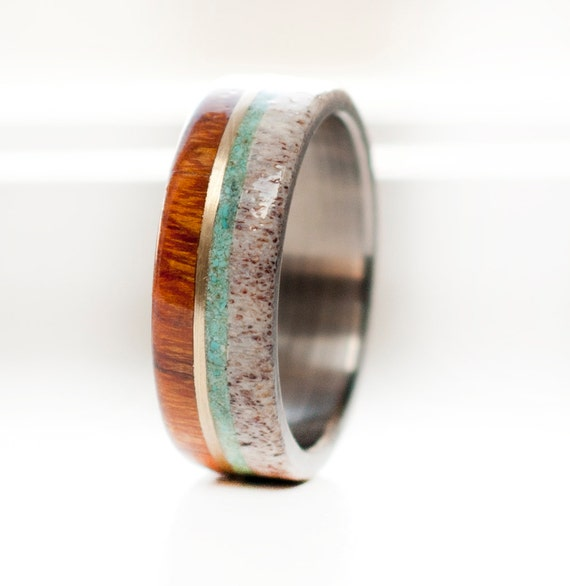 Mens titanium wedding band with wood antler turquoise 10k for Design your own wooden ring
