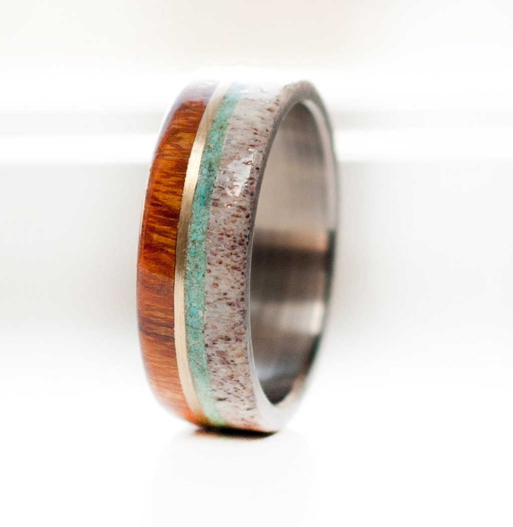 mens wedding band wood and antler with 10k gold and turquoise. Black Bedroom Furniture Sets. Home Design Ideas