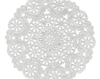 "Medallion Doilies, Medallion, Silver or Gold Foil, 4"" or 5"" or 10"""