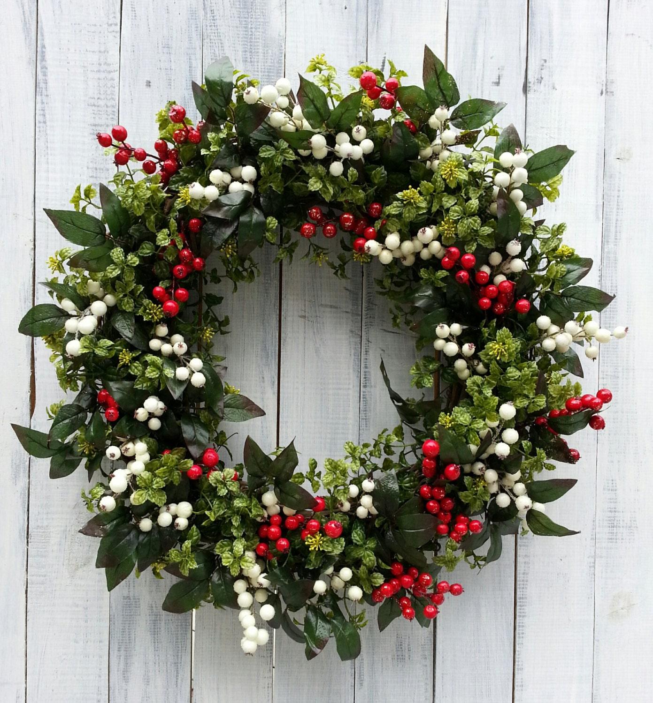 Christmas wreath front door wreath holiday wreath boxwood for Front door xmas wreaths