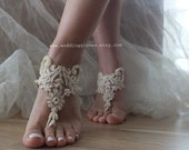 Free Shipping Champagne beach shoes, french lace sandals, wedding anklet, Beach wedding barefoot sandals, embroidered sandals.