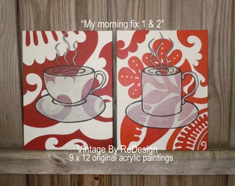 """SPECIAL SALE ~ My Morning Fix 1 & 2 original acrylic paintings on 9"""" x 12"""" canvas panel. Coffee Art"""