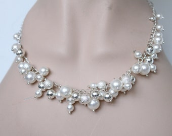 Pearl choker Necklace wedding anniversary gift jewellery bridal bridesmaids jewelry gifts for women