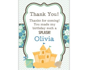 Beach Thank You Card - Green Chevron, Blue Floral, Sand Castle, Shells, Beach Personalized Birthday Party Thank You - Digital Printable File
