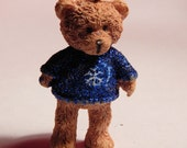 Doll House Teddy Bear In Snowflake Sweater Standing  - Christmas Tree Ornament - 1/12th Scale