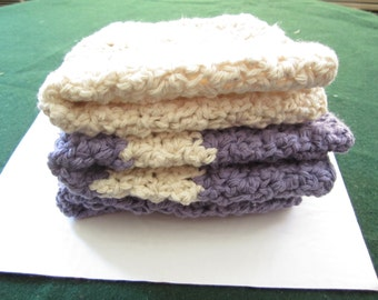CROCHETED Off-White and Hot Purple Washcloths in a set of 3