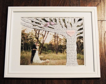 Unique Anniversary Gift, Wedding Gift, 1st Anniversary Paper - Song Lyric Tree Art - 11x14 Printed Picture in a 14x18 Matte - Frame Included