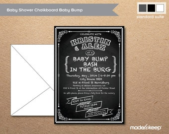 BA400 Chalkboard Baby Shower Invite Baby Bump Birthday