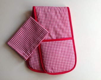 Toy Oven Glove and Tea Towel. Home corner toy kitchen. Red gingham