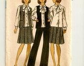 "A Semi-Fitted Vest, Pleated Skirt, Wide Leg Pants & Long Sleeve Blouse with Tie Pattern for Women: Uncut - Size 12 Bust 34"" • Butterick 3562"