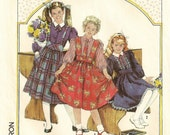"""A Gathered Skirt w/Wide Waistband & Optional Suspenders, and Full Sleeve Blouse Pattern: Uncut - Girls Size 12 Breast 30"""" • Simplicity 7627"""