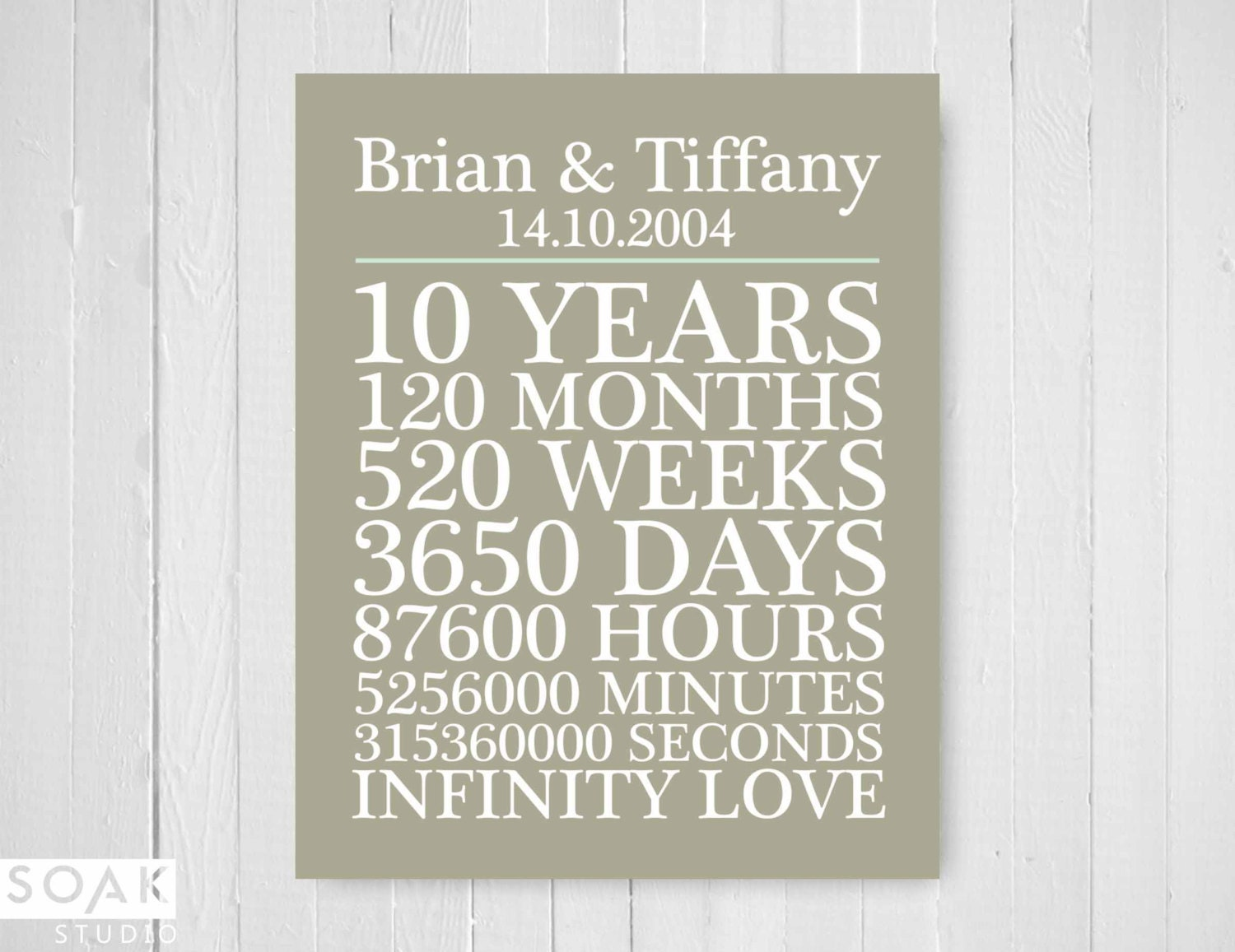 10th Wedding Anniversary Gift For Him: 10th Anniversary Gift Personalised Counting List Custom
