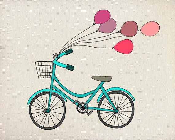 SALE - Bike & Ballons - Illustration Art Print