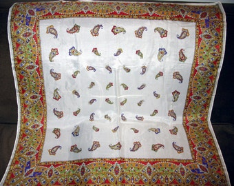 Paisley Scarf Silk, Large Square Vintage Scarves