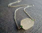 Silver and Rough Gemstone Necklace, Quartz Drusy Stone, Natural Quartz Druzy Necklace, Rough Stone Necklace, Rough Gemstone Jewelry