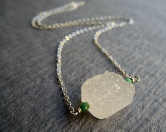 Crystal and Sterling Silver Necklace, Quartz Druzy Stone Jewelry, Silver and Gemstone Jewelry, Birthstone, Sterling Chain, Rough Stone