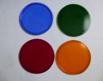 Set of 4 vintage glass spotlight filters in red, green, blue, and orange - 4.5 inch diameter - great coasters, trivets, eye-catchers