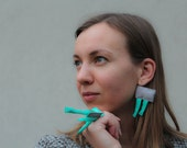karen / grey and mint textile earrings and ring / jewellery set / fiber art / minimal earrings