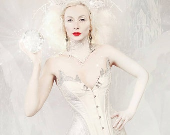 Ice Queen Silver Silk Overbust Corset with Snow Flake Embroidery