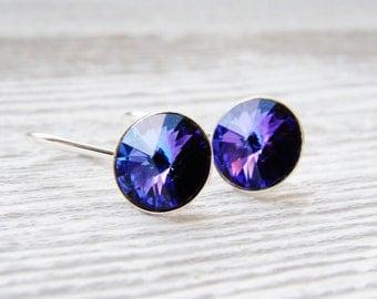 CLEARANCE Swarovski Crystal Heliotrope Rivoli Earrings Sterling Silver Bridal Bridesmaid Wedding Dangle Minimalist Blue Purple Pink