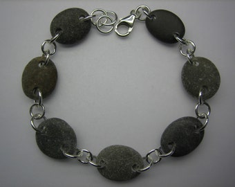 BEACH STONE BRACELET Sterling Silver Natural Surf Tumbled Greek Beach Found Stones Connector Bead Mediterranean Pebble Jewelry B 275c