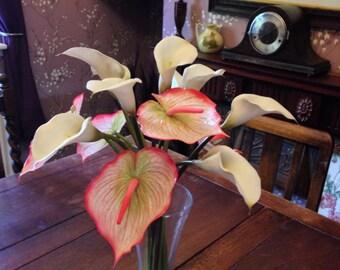 Artificial Flower White Calla Lily Pink Anthuriums Arrangement