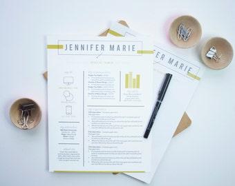 instant download resume letterhead template the jennifer - Resume Letterhead
