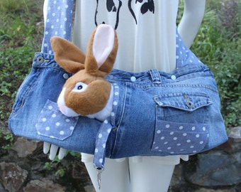 Pet  sling carrier for rabbits , cats ,ferrets  and small dogs .Upcycled ,recycled ,new and old . Beach bag ,   denim bag . Pet carrier