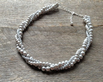 Grey Pearl Necklace Bridal Necklace Twisted Clusters on Silver or Gold Chain