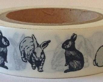 "Rabbit Washi Tape ""Bunny Hop""  15mm x 10 meters"