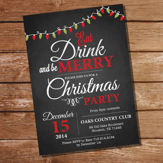 Chalkboard Christmas Party Invitation - Christmas Party - Instantly Downloadable and Editable File - Personalize at home with Adobe Reader