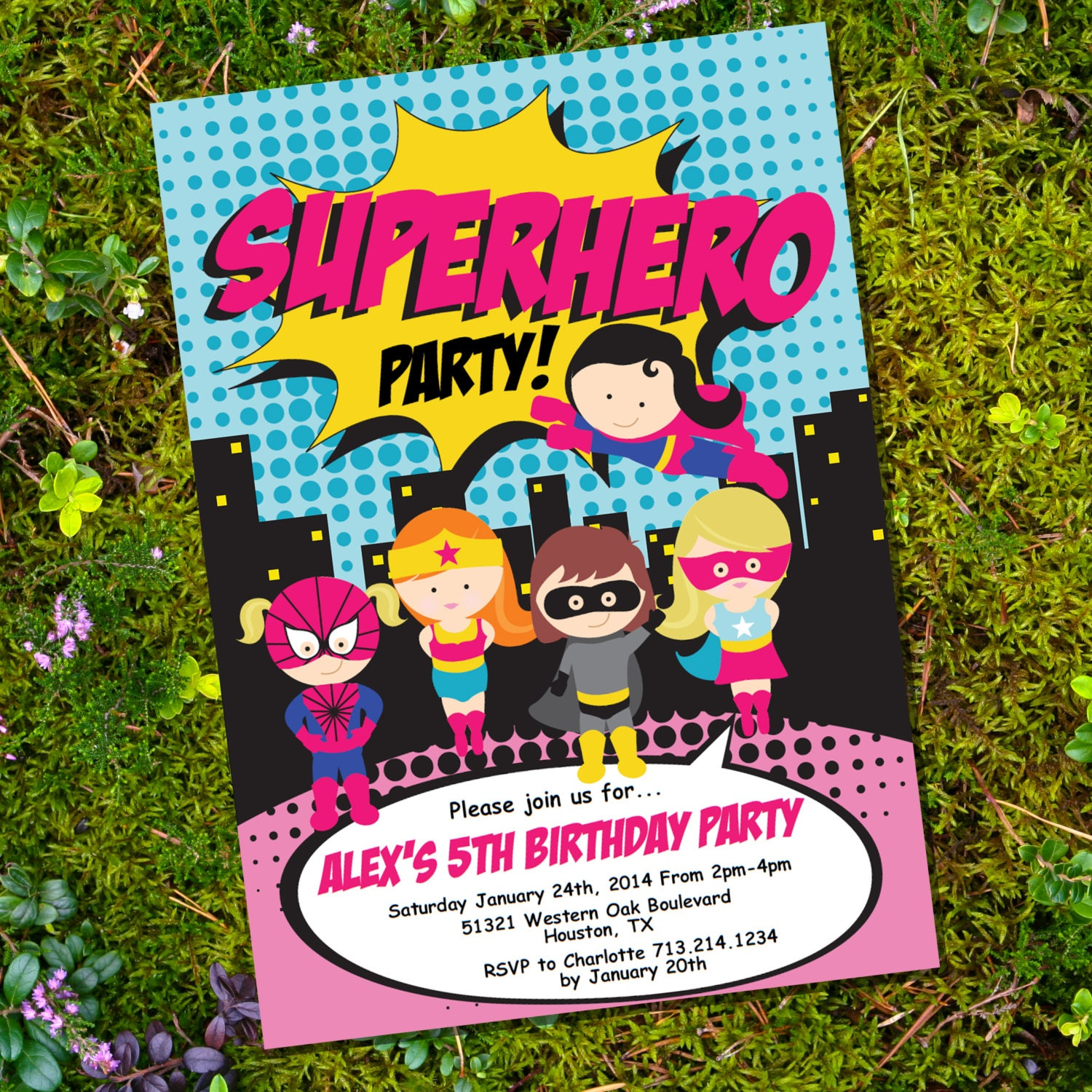 girl superhero party invitation instantly downloadable and