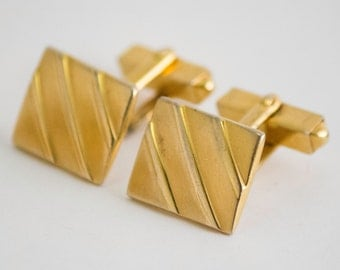 Vintage Cufflinks- Ribbed Square Front Classic Gold Toned Cuff Links by Swank 1950s Winter Formal Wedding For Him, For Dad, Hipster