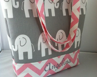 Large Modern Diaper Bag/Tote...Ele Elephants with Chevron...Light Pink and Grey...Can Be Personalized...Shower Chic