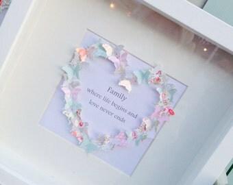 Family slogan butterfly heart box frame