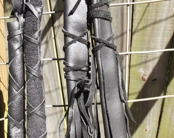 Black Deerskin Leather Hair Wraps,   Native American Handmade  Soft and Luscious   Biker chic