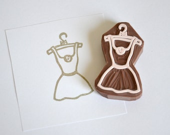 Hand Carved Rubber Stamp / Dress
