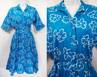 Vintage 80's PETITES by WILLI Blue & White Floral 50's Style Dress Size 6