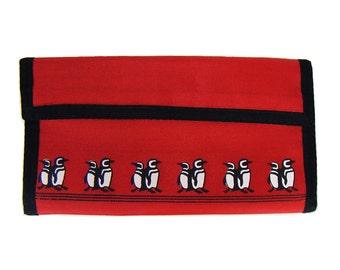 Vintage 80's Penguin Prints Red & Black Check Book Holder/Wallet