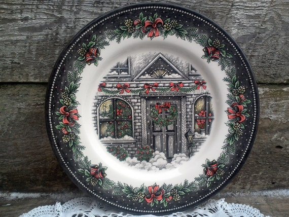 Christmas house dinner plate holiday christmas plate christmas decor housewarming gift wedding gift bridal shower gift english dinnerware