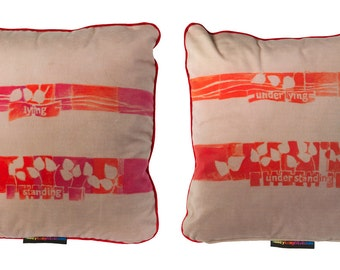"""Taupe, orange, red and pink throw pillow, 12"""" x 12"""""""