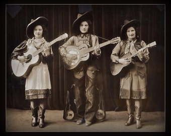 Fridge Magnet vintage Cowgirl Band photo Sepia tone guitars Country and Western swing