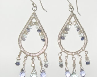 Sterling silver, iolite and aquamarine earrings.