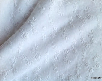White on White Embroidered Cotton Crepe Fabric - Stretchable Cotton Fabric- Floral Fabric