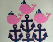 12 Pink and Navy Whale and Anchor Cupcake Toppers, for Birt Nautical, for Birthday, Baby Shower